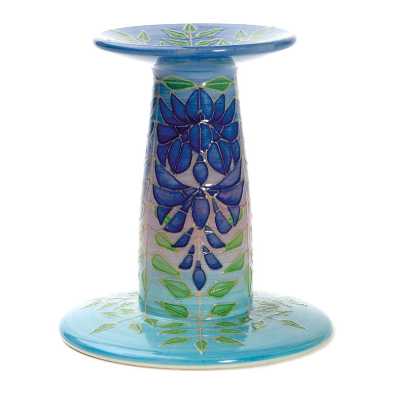 "Dennis Chinaworks Wisteria on Turquoise Candlestick 6"" - uk-art-pottery-test-site"