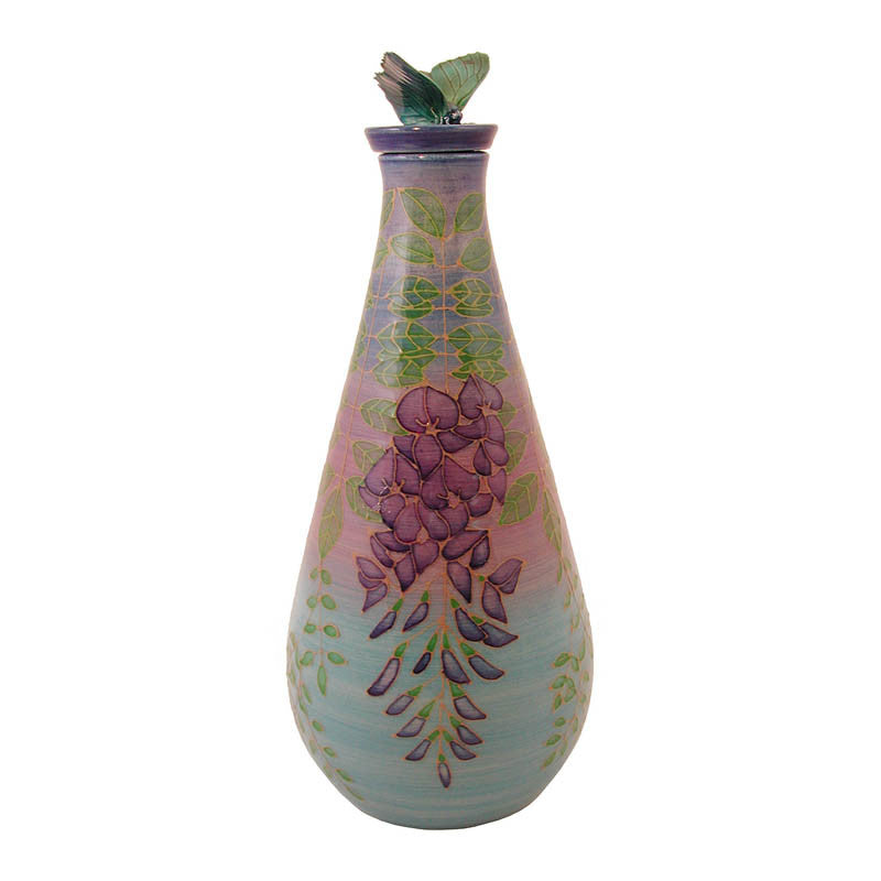 "Dennis Chinaworks Wisteria on Turquoise Flask 8.5"" - uk-art-pottery-test-site"
