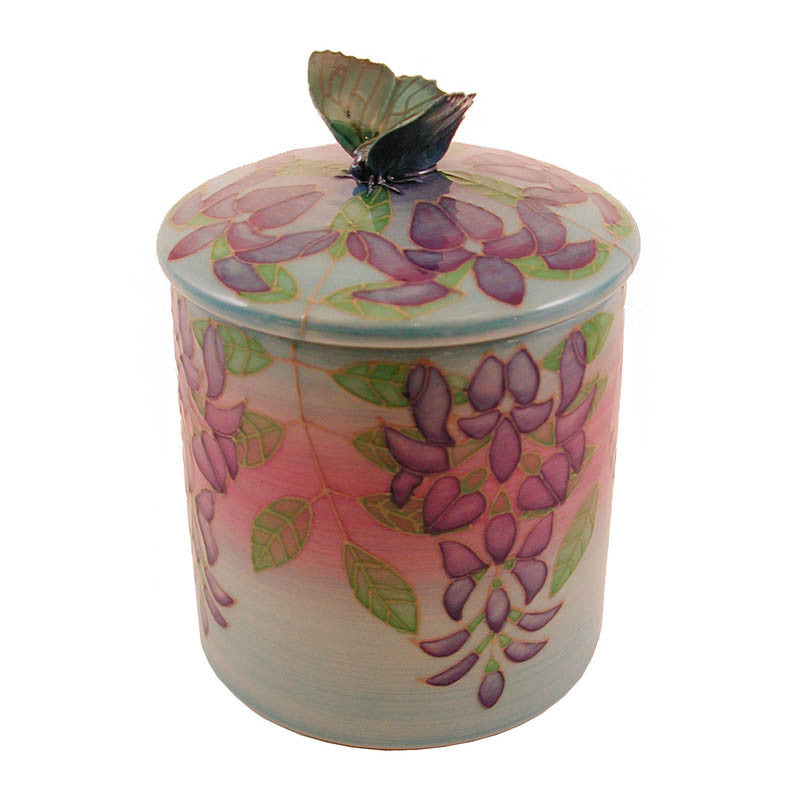Dennis Chinaworks Wisteria on Turquoise Lidded Box 4.5