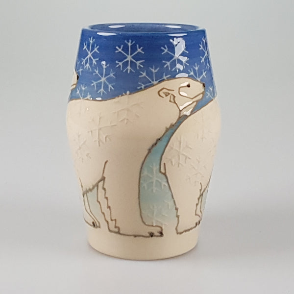 "Sally Tuffin Dennis Chinaworks Polar Bear on Blue Barrel 6""."