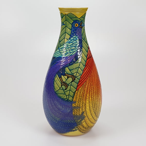 Sally Tuffin Bird of Paradise Flask 31cm Limited Edition of 10 - uk-art-pottery-test-site