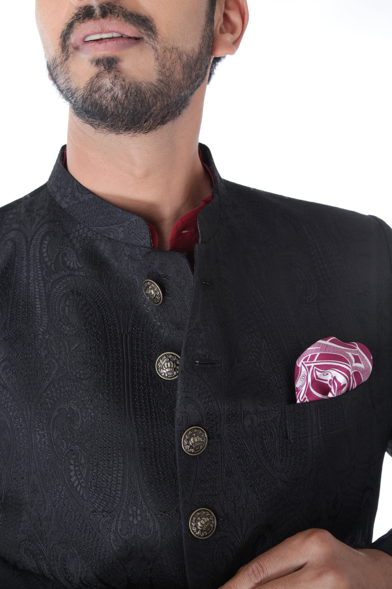 Ethnic Jacquard Black Achkan With  Maroon Kurta Set