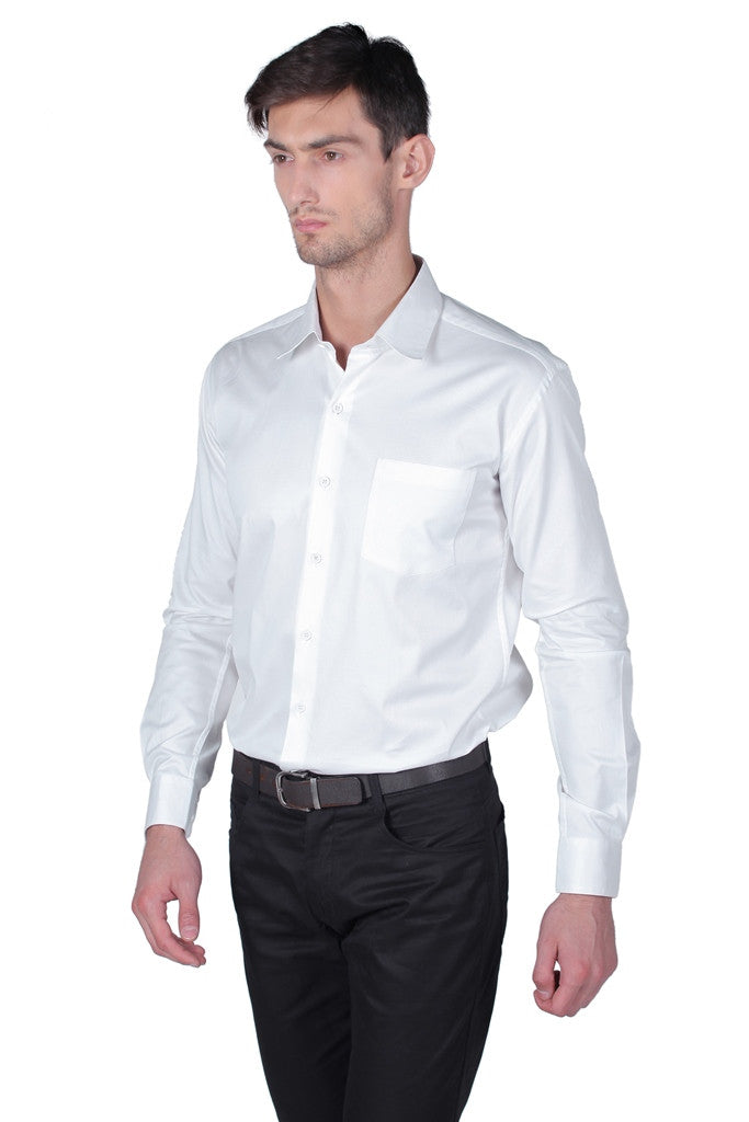 Men's White Full Sleeve Cotton Shirt