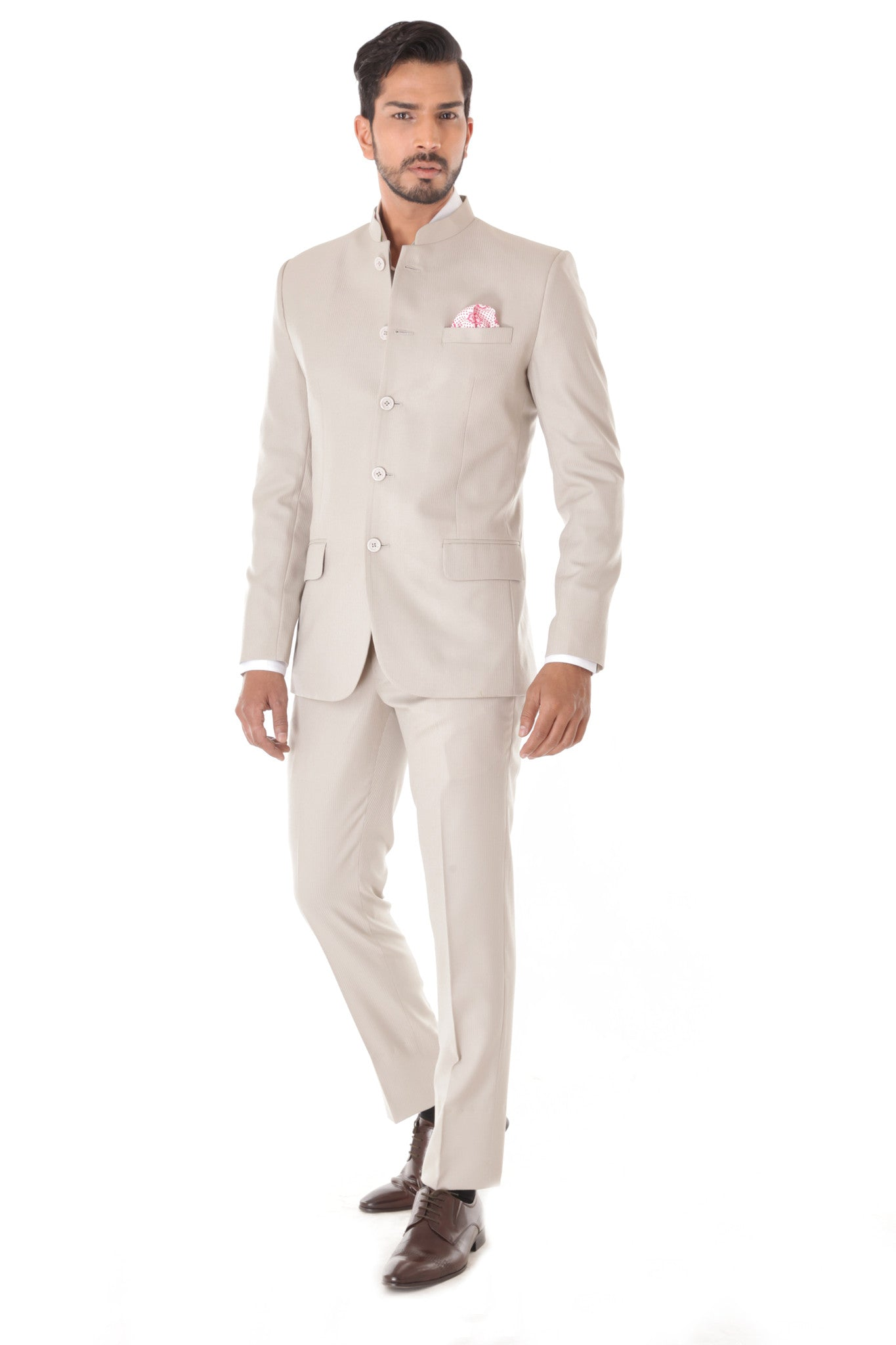 Classic Off white Bandhgala Suit with Pocket Square