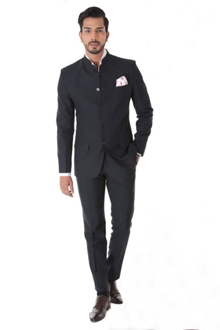 Classic Grey Texture Bandhgala Suit with Pocket Square