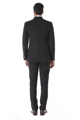 Classic Black Bandhgala Suit With Metal Button