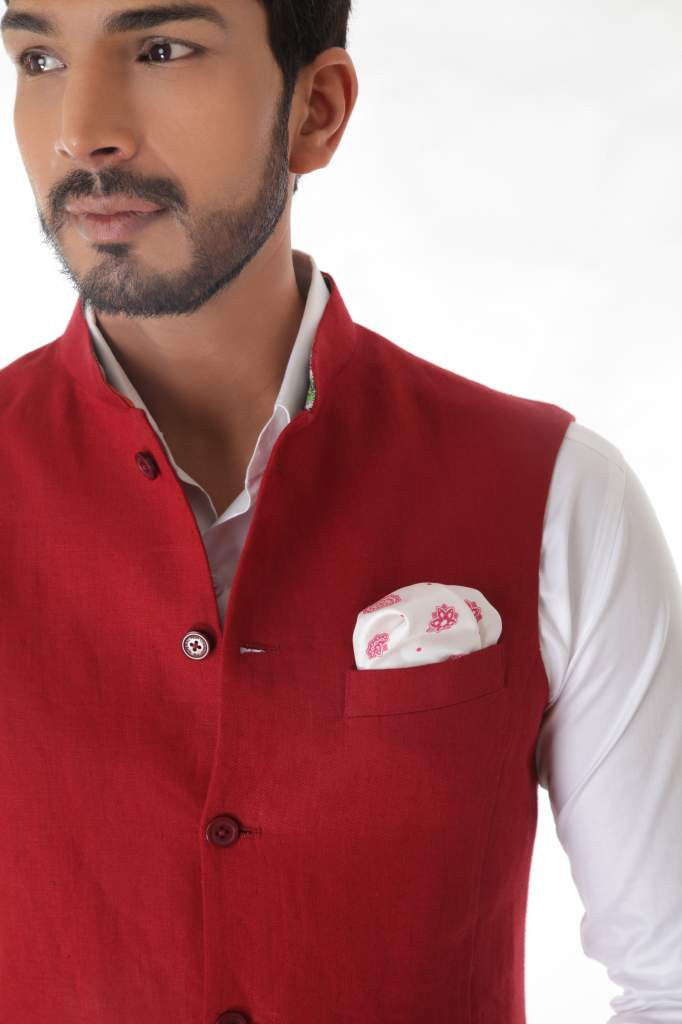 Red Classic  Linen Waist Coat
