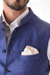 Royal Blue  Linen Waist Coat