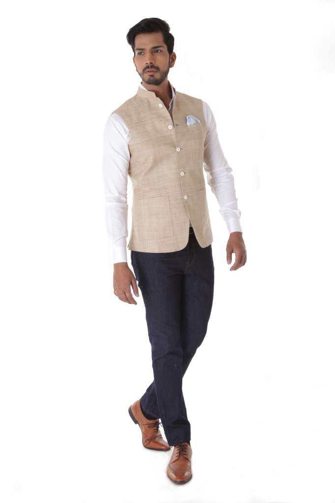Light Brown Tussar Silk Waist Coat