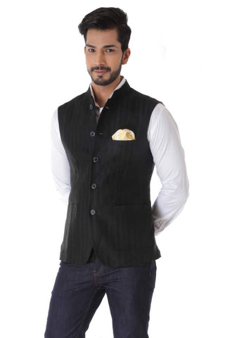 Black Herringbone Linen Waist Coat