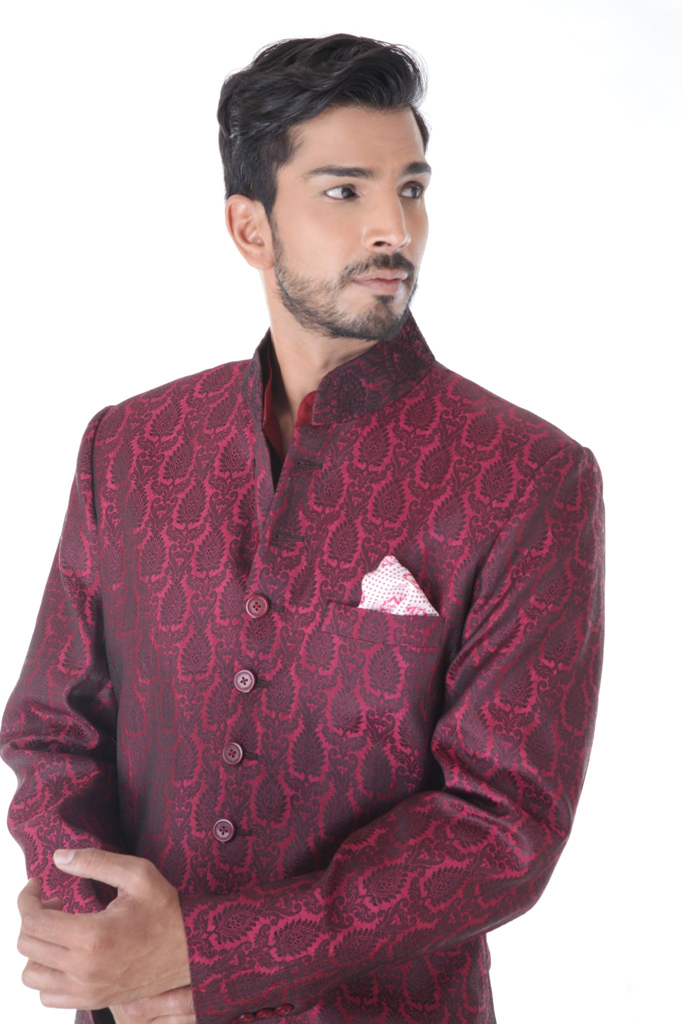 Ethnic Jacquard Maroon Achkan with Black Churidar Set