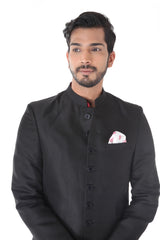 Ethnic Black Achkan with Maroon Kurta Set
