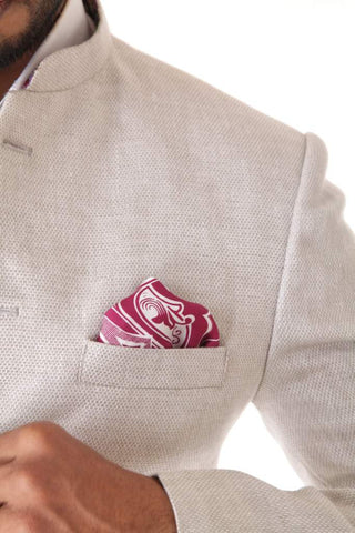 White Linen Bandhgala Jacket with Trouser & Pocket Square