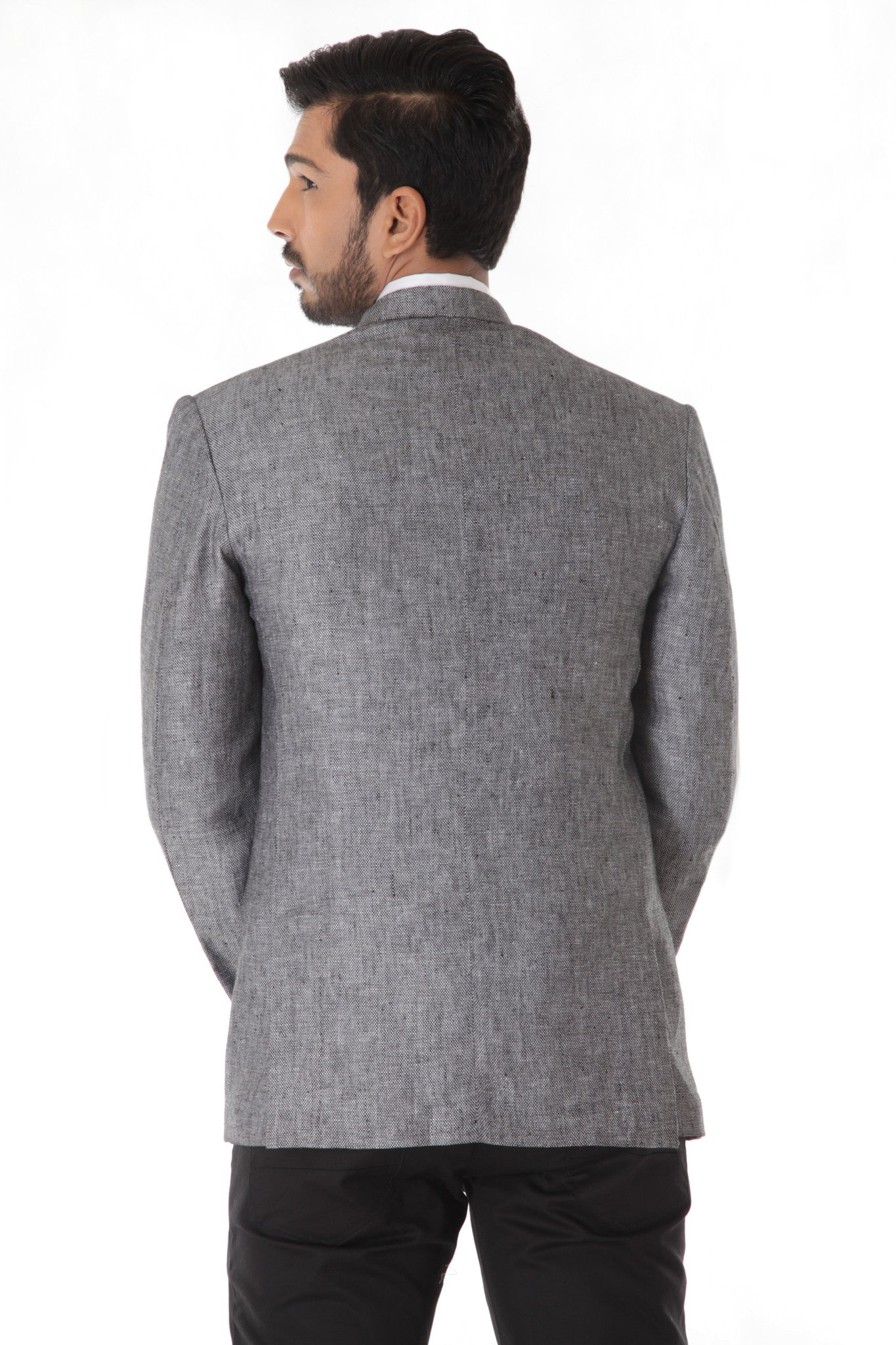 Grey Linen Bandhgala Jacket with Pocket Square