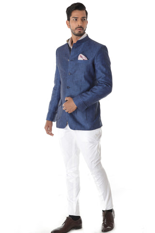 Blue Linen Bandhgala Jacket White Breeches