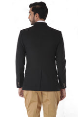 Black Bandhgala Jacket with Mustard Breeches