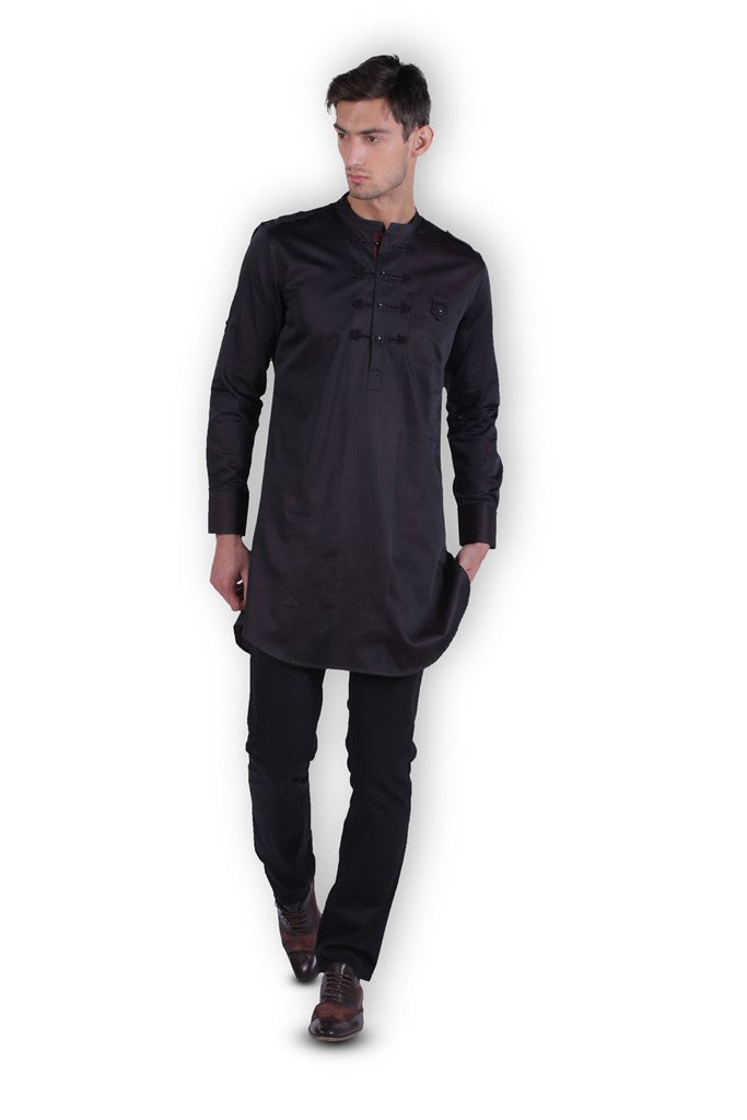 Men's Maroon Black Kurta