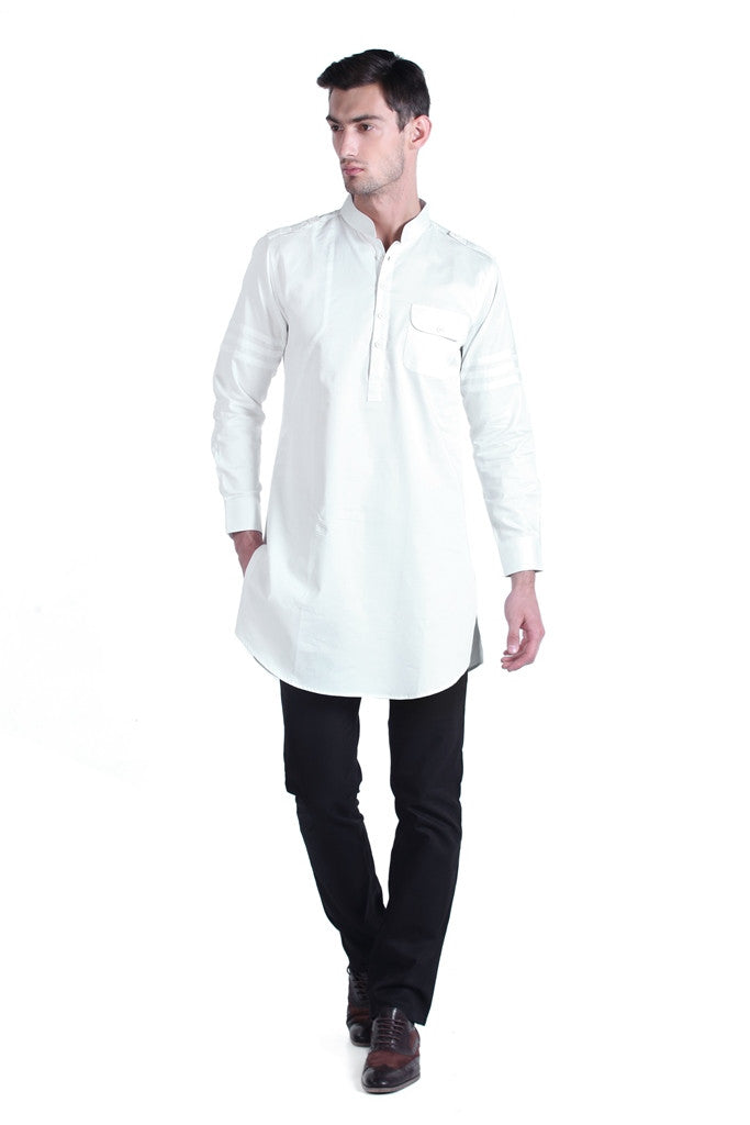 New Men's White Satin Shirt