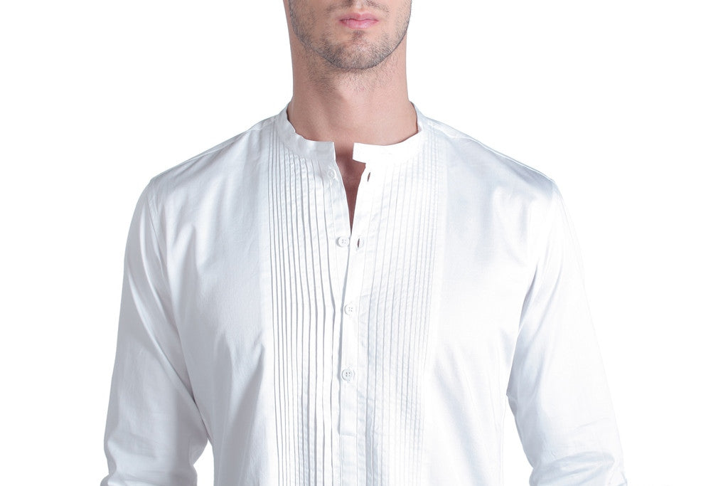 Men's White Silk Kurta