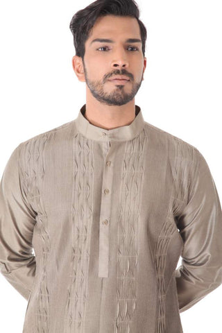 Beige Cotton Silk Blend Pintuck Kurta with Black Churidar