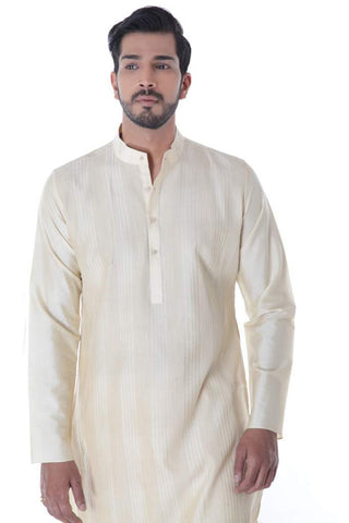 Offwhite Cotton Silk Blend Pintuck Kurta