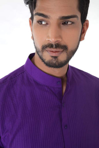 Purple Kurta with Self Stitched & Churidar