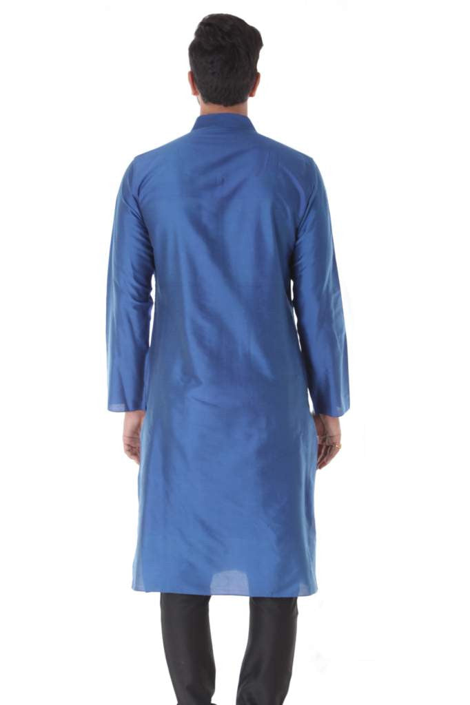 Blue Cotton Silk Blend Pintuck Kurta with Black Churidar