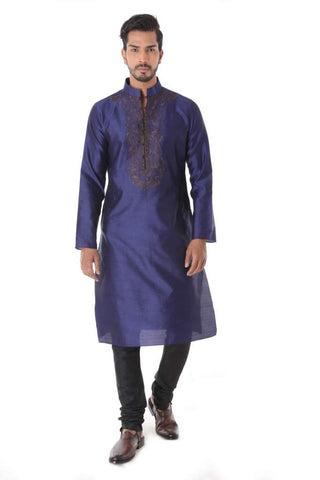 Blue Silk Blend Jacquard Kurta with Front Embroidery & Churidar