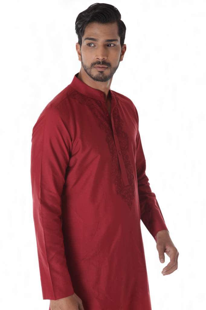 Light Maroon Kurta Self Stitched & Churidar