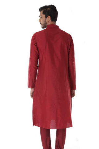 Maroon Silk Jacquard Kurta with Front Embroidery & Churidar