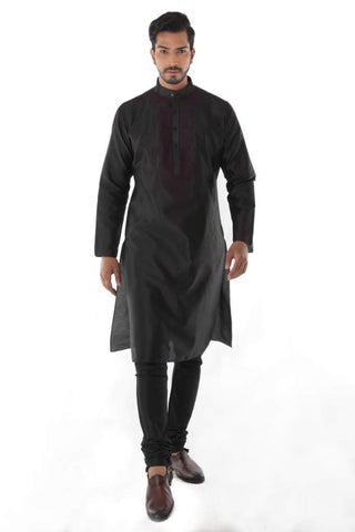 Black Silk Blend Jacquard Kurta front Embroidery with Churidar
