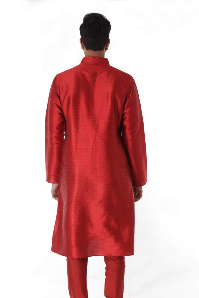 Maroon Silk Blend Jacquard Kurta with Front Embroidery & Churidar