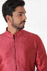 Light Maroon Silk Jacquard Kurta with Front Embroidery & Churidar