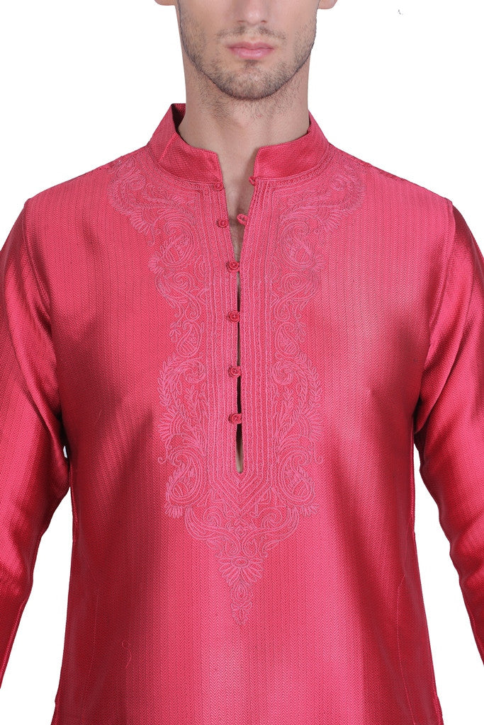 Men's Cotton Red Silk Kurta