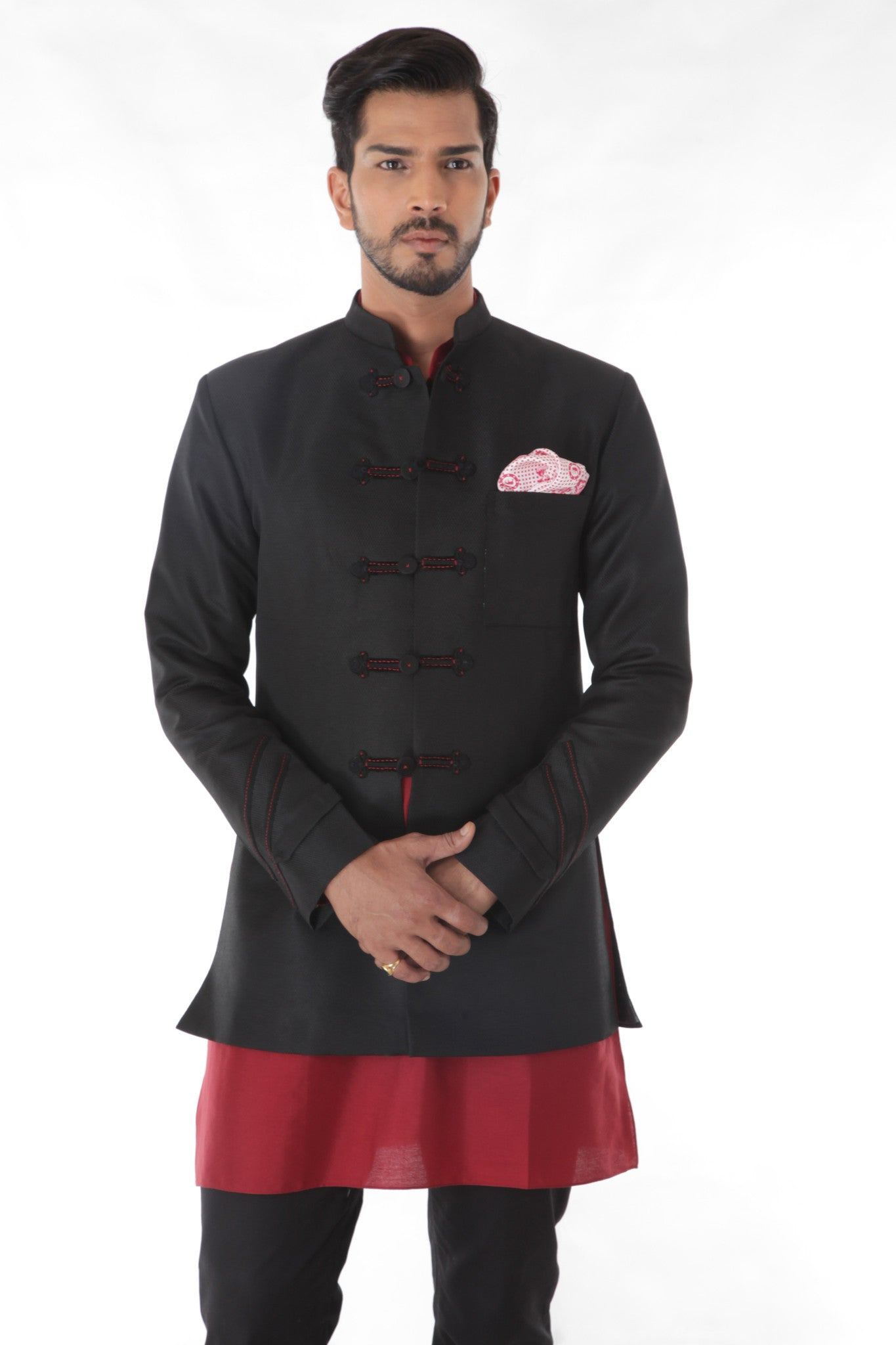 Black Jacquard Linen Silk Bandhgala Jacket Set