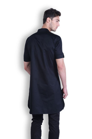 Men's Black Silk Kurta