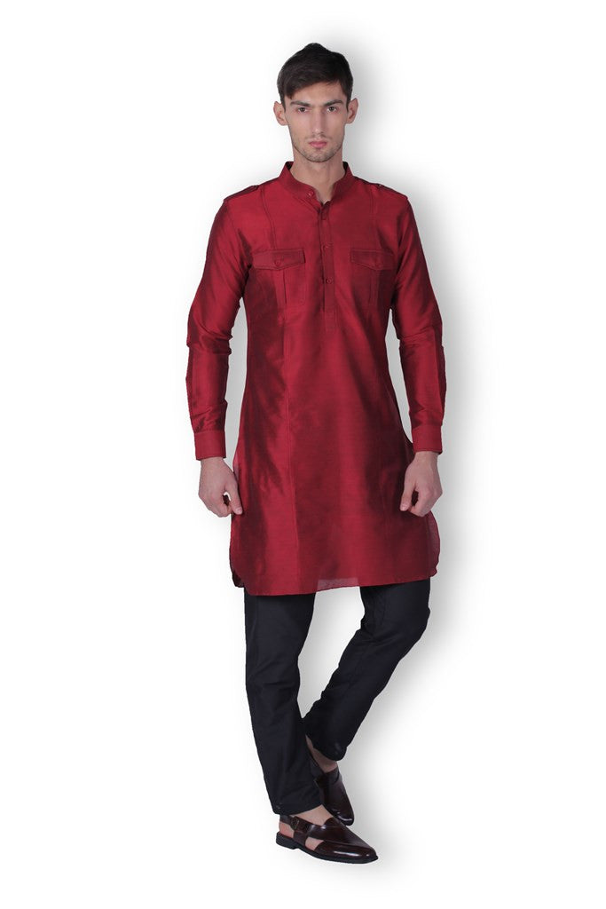 Men's Pathani Maroon Cotton Kurta