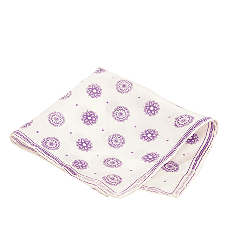 Silk Printed Purple Pocket Square