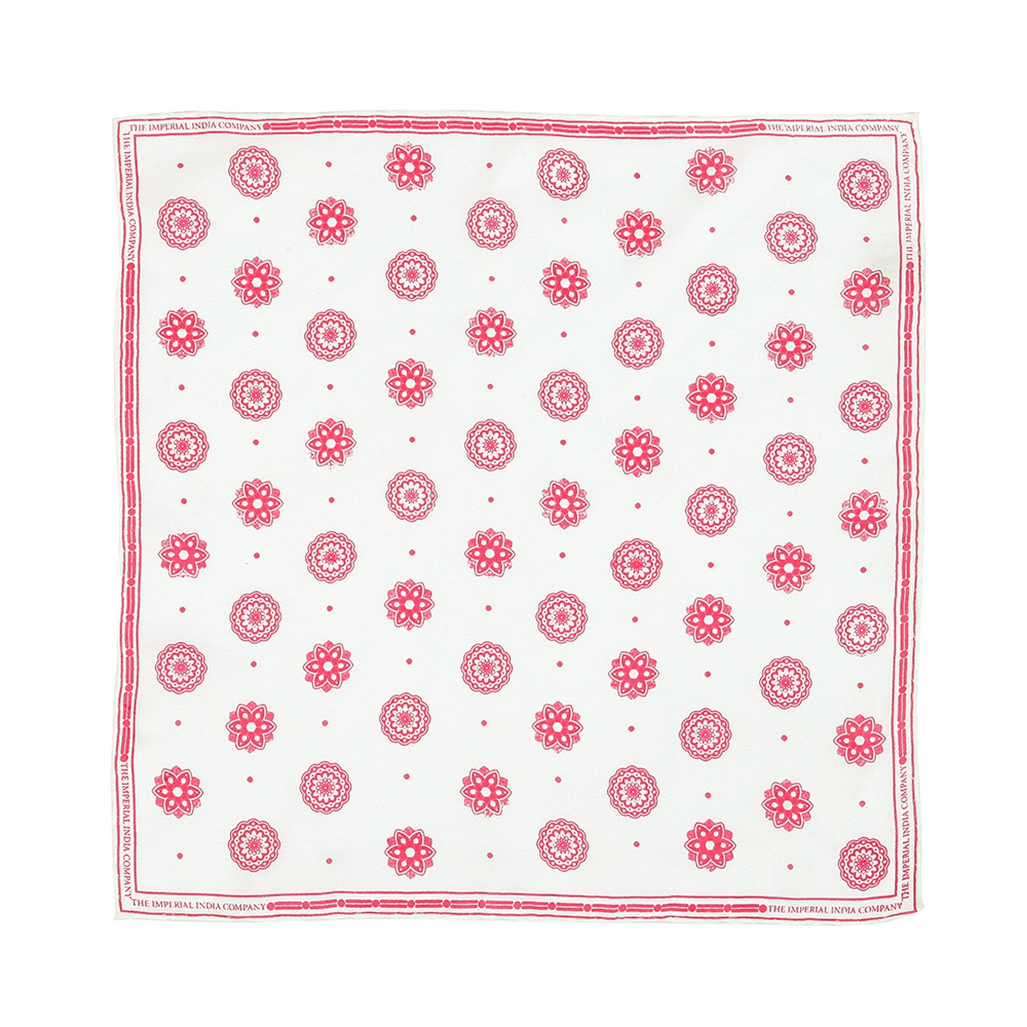Flower Print Red Pocket Square
