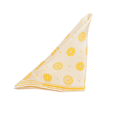 Yellow Print Pocket Square