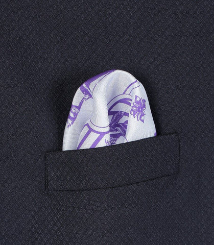 Purple Stripped Print Pocket Square