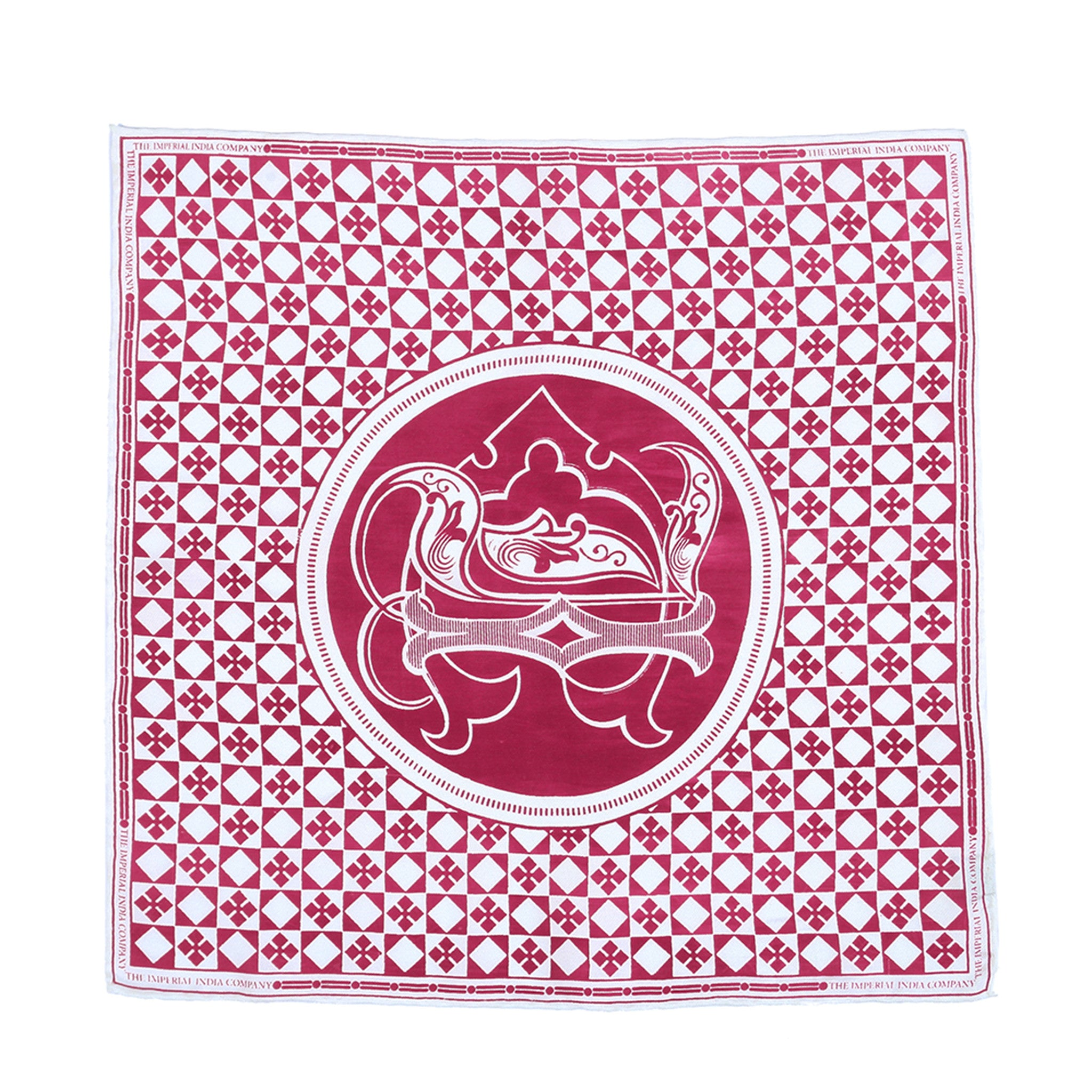 Printed Crest Maroon Pocket Square