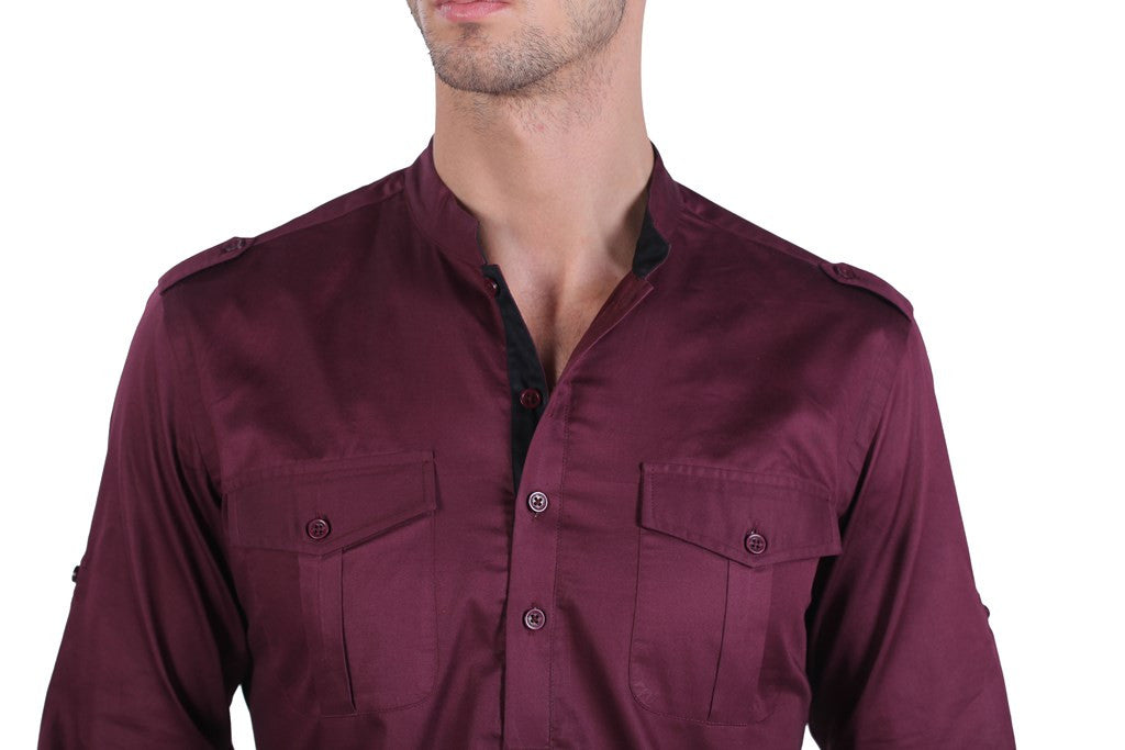 Men's Cotton DK Wine Satin Shirt