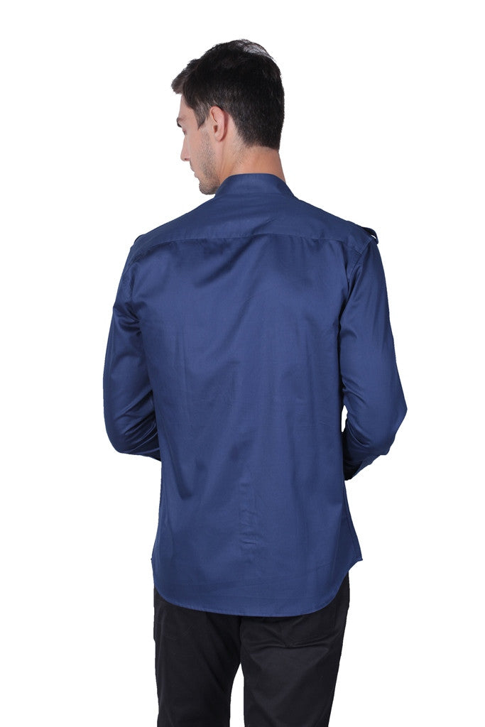 Men's Full Sleeve Navy Cotton Satin Shirt