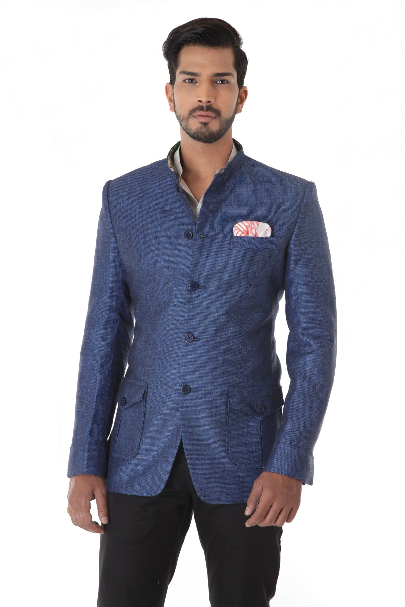 Blue Linen  Bandhgala Jacket With Flap Pocket