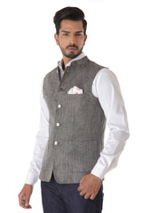Grey Harring Bone Linen Waist Coat