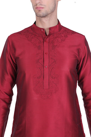 Men's Maroon Cotton Kurta