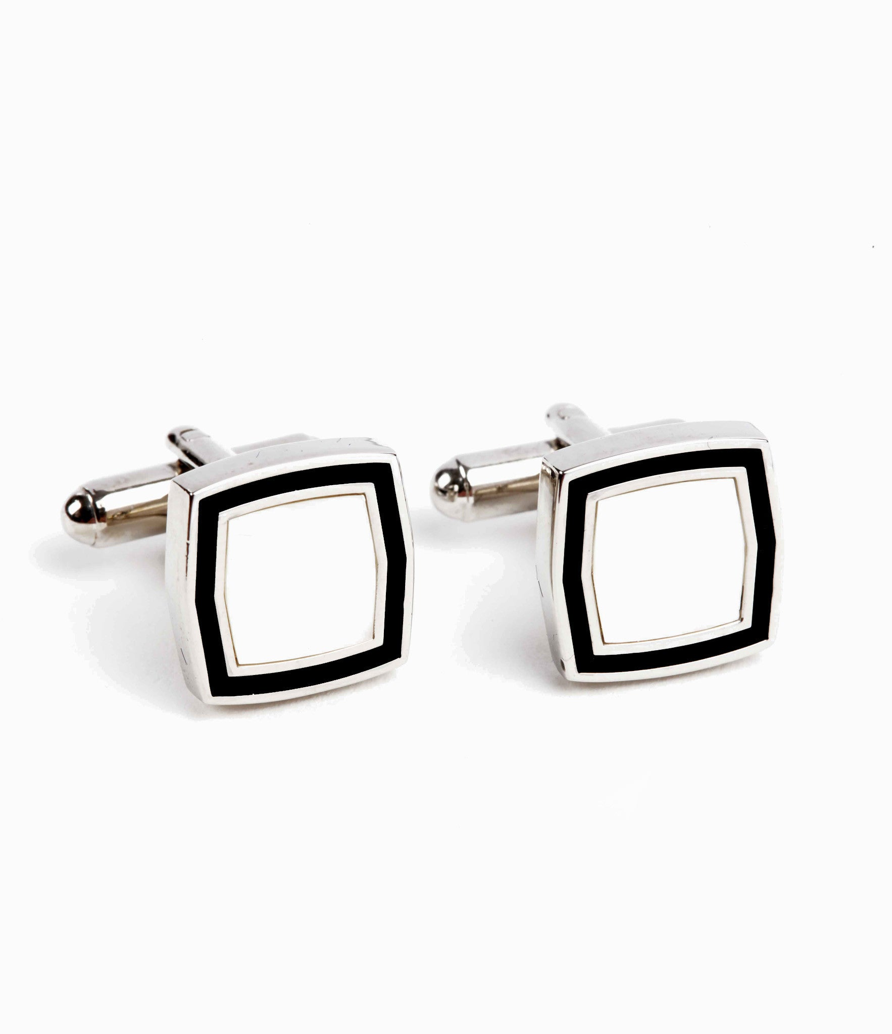 Imported black and white cufflinks