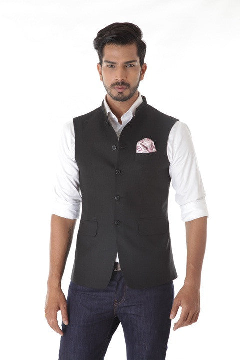 Black Textured Wool  Waist Coat