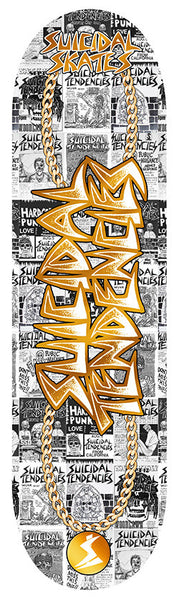 SOLD OUT - Suicidal Skates - ST Gold Chain Logo Popsicle Deck (Shipping Charges Included)